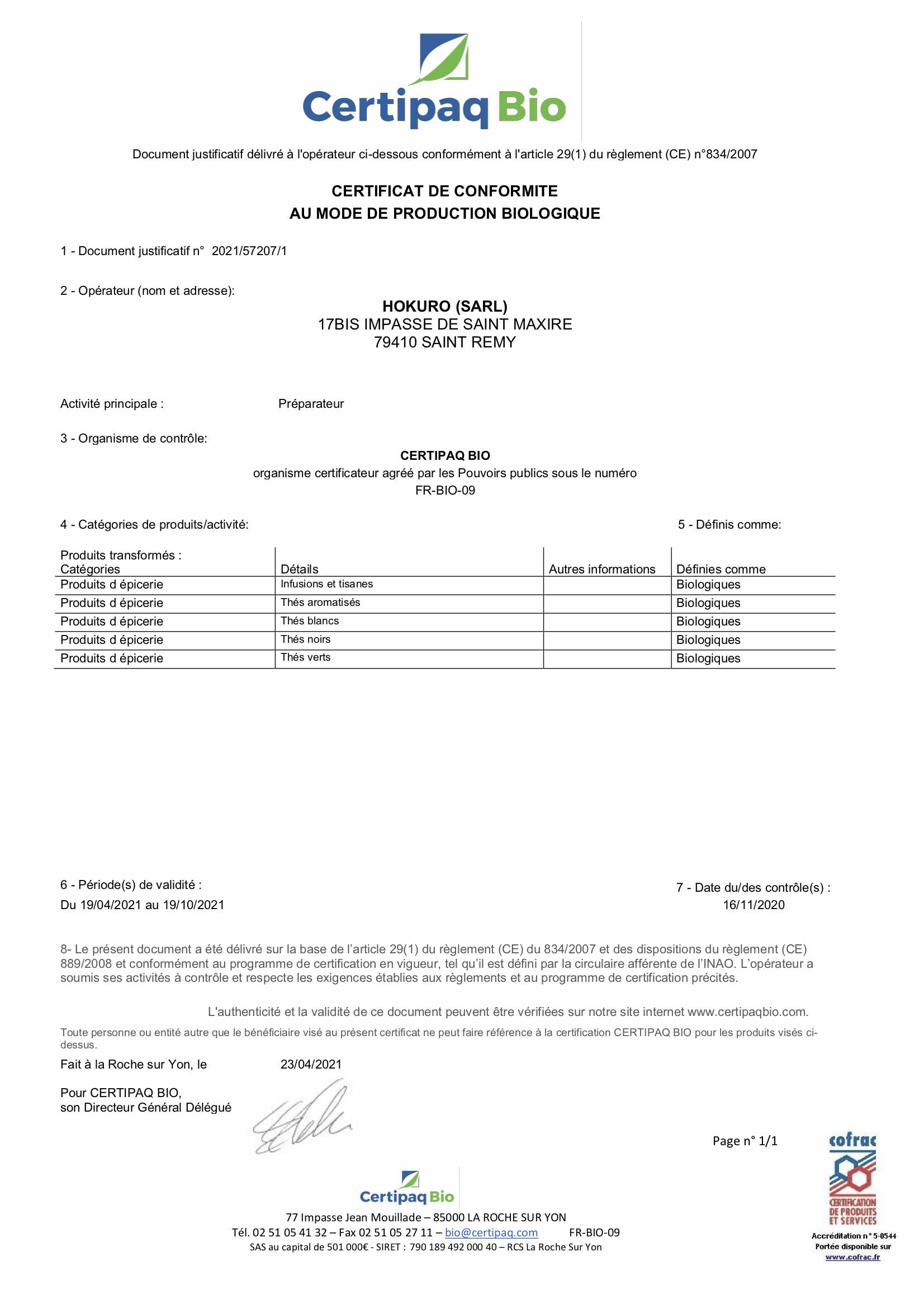 Certificat Bio 2021